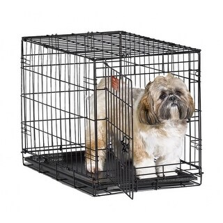 MidWestA 1524 iCrateA Single Door Folding Dog Crate, Satin Black, 24""