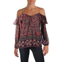 Aqua Womens Pullover Top Off-The-Shoulder Paisley