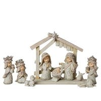 """9 Piece Set Of Pageant Nativity Ivory Figures 3"""" - WHITE"""