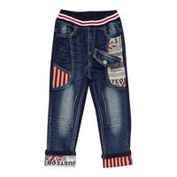 Rock'nStyle Baby Boys Dark Blue British Flag Stripe Denim Pants - 18-24 months