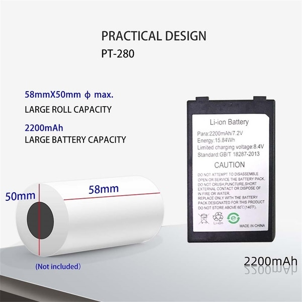 "Gainscha PT-280 Steady-Selling Mobile Printer Bluetooth Printer 2"" - Black"