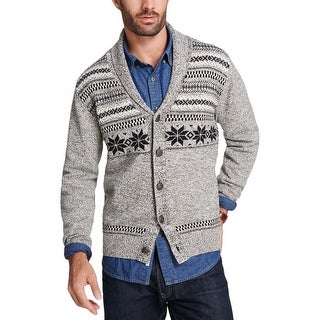 Weatherproof Vintage Mens Fair Isle Cardigan Sweater Shawl-Collar Marled - M