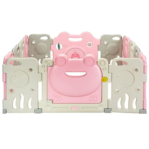 Costway 14 Panel Baby Playpen Activity Center Safety Play Yard Cute