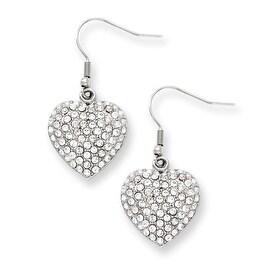 Stainless Steel CZ Heart Dangle Earrings