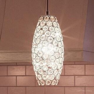 """Luxury Crystal LED Pendant Light, 11""""H x 4""""W, with Modern Style, Polished Chrome Finish"""