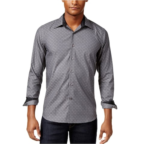 Tallia Mens Prism Geometric Button Up Shirt