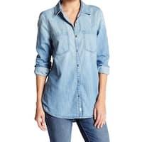 Melrose And Market NEW Blue Women's Size XS Denim Pocket Button Down Shirt