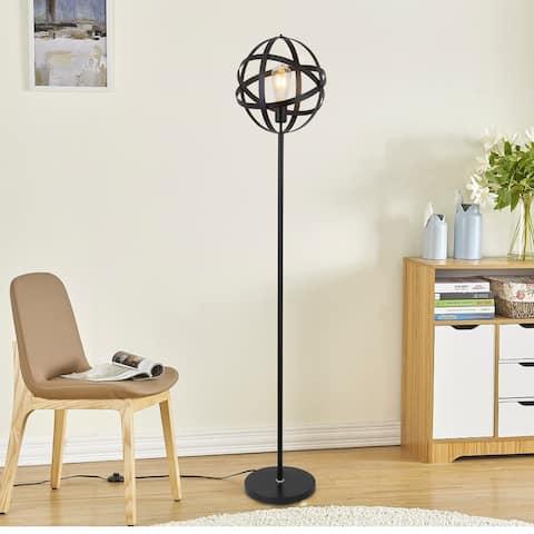 Q-Max Industrial Metal Floor Lamp with Spherical Cage Design in Black Finish