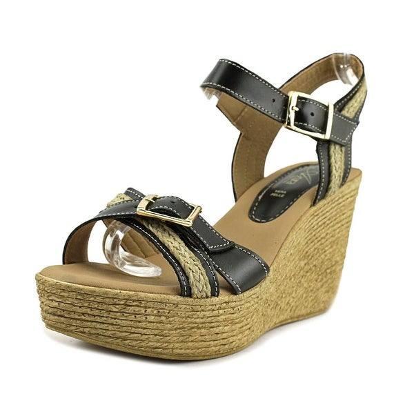 Azura Frappe Women Open Toe Leather Wedge Sandal
