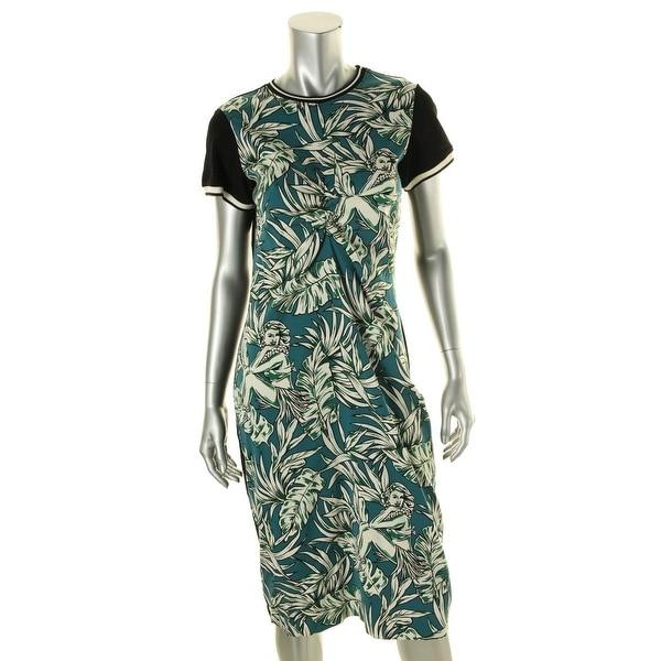 Zara Womens Wear to Work Dress Floral Print Short Sleeves