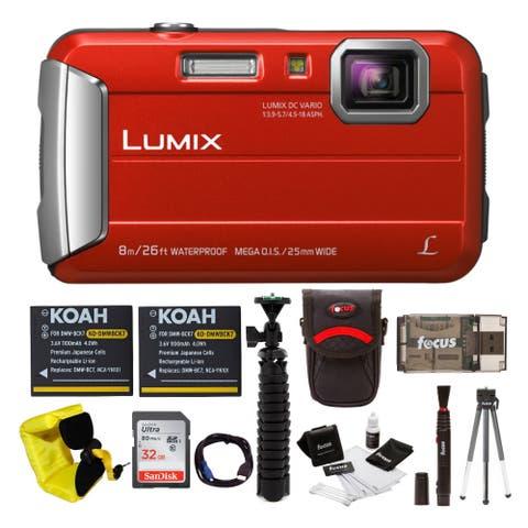 Panasonic DMC-TS30R LUMIX Tough Camera (Red) with 32GB SD Card Bundle