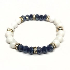 Blue Jade & Crystal 'Posh' stretch bracelet 14k Over Sterling Silver