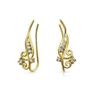 Bling Jewelry Gold Plated 925 Sterling Silver Modern Swirl CZ Ear Pins