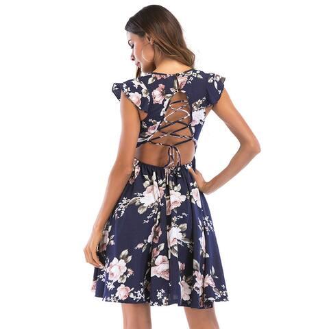 Printed Dress, Deep V Collar, Lotus Leaf Sleeves, A Pendulum, Casual Summer Dress