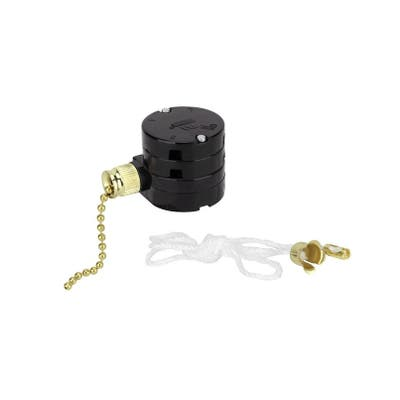 Aspen Creative 3 Speed Ceiling Fan Motor Switch with Pull Chain, Polished Brass - POLISHED BRASS