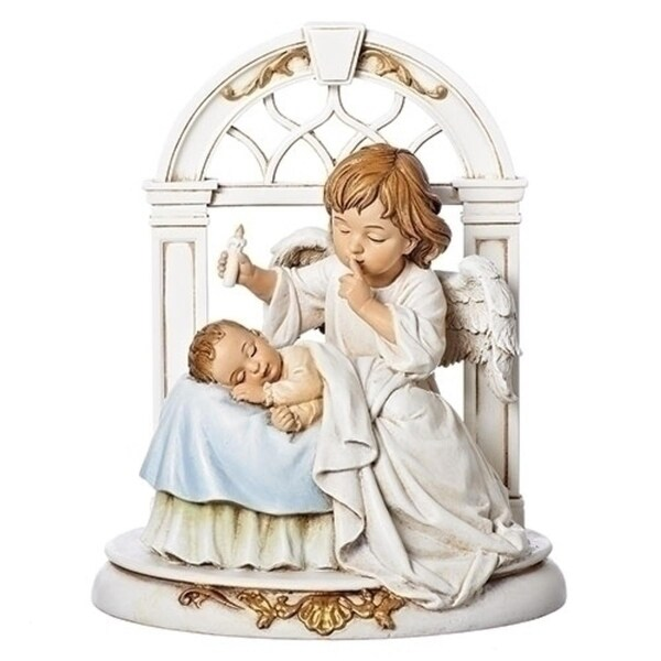 """Set of 2 """"Hush-A-Bye"""" Ivory Guardian Angel with Sleeping Baby 8"""" - WHITE"""