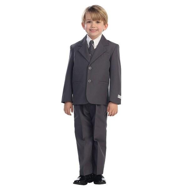 Little Boys Charcoal Single Breasted Jacket Vest Shirt Tie Pants 5 Pc Suit