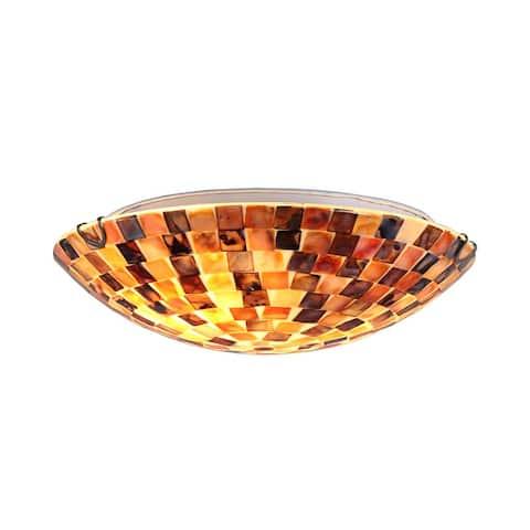 Mosaic Design 2-light Seashell Flush Mount Fixture - Multi-Color