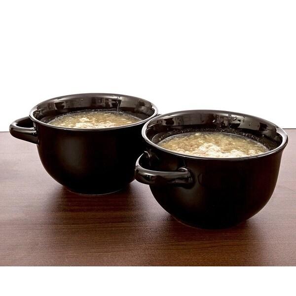 CrockPot Double Handle Ceramic Soup Bowls Savory Sip, Set Of 2, Black, 22 Ounces