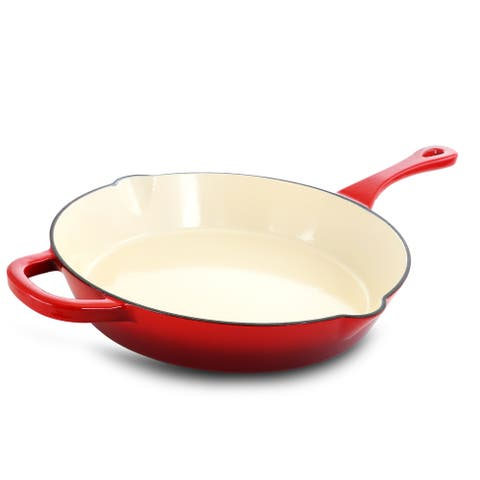 Crock-Pot Classics 12 Inch Enameled Cast Iron Skillet in Red