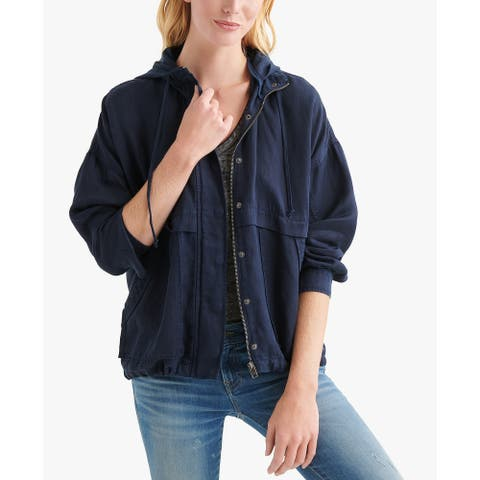 Lucky Brand Women's Hooded Jacket, Navy, M