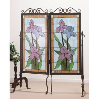 Meyda Tiffany 65253 Tiffany Two Panel Stained Glass Screens from the Iris Collection