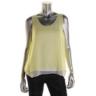 Calvin Klein Jeans Womens Juniors Pullover Top Chiffon Scoop Neck