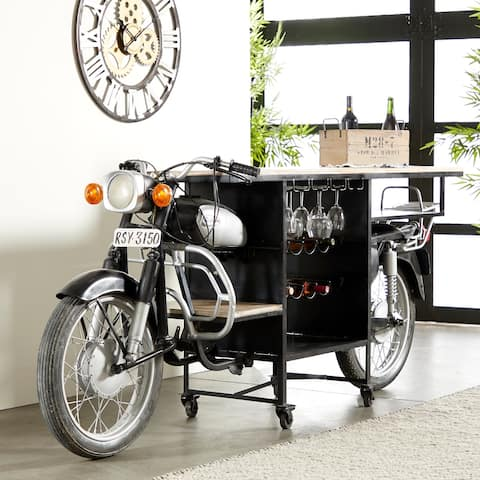 """Life-Sized Natural Wood & Black Iron Vintage Motorcycle Bar Cart with Wheels and Wine Storage Rack - 105"""" x 38"""""""
