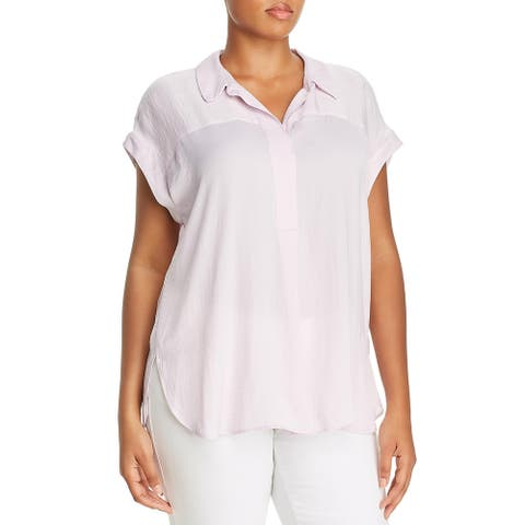 Vince Camuto Womens Plus Henley Top Collared Short Sleeves - Pink Haze