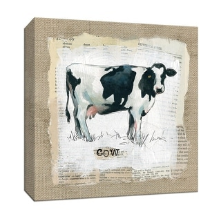 "PTM Images 9-147586  PTM Canvas Collection 12"" x 12"" - ""Burlap Cow"" Giclee Farm Animals Art Print on Canvas"