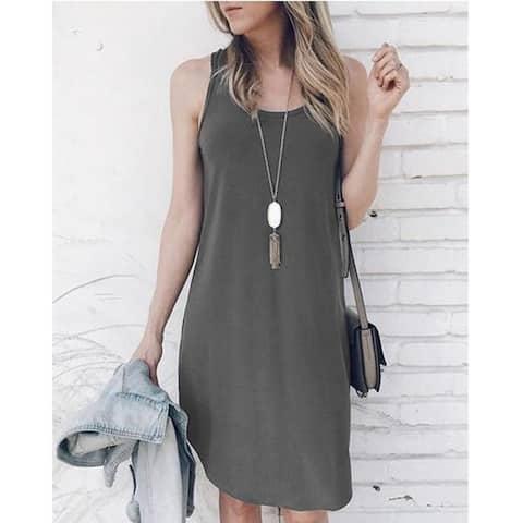 2019 New Women's Clothing Sleeveless Irregular Dress