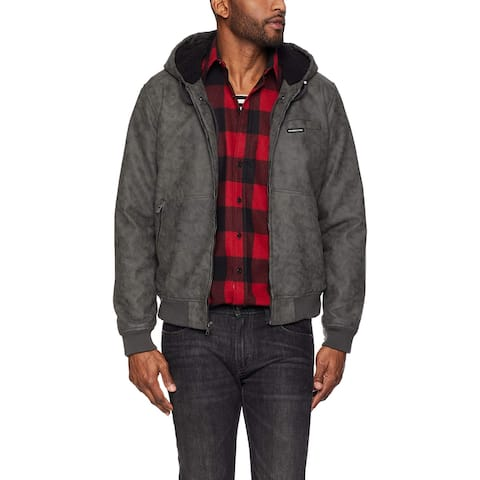 Members Only Mens Jacket Gray Size XL Faux-Suede Hooded Sherpa Lined