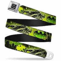 Batman Full Color Black Silver Black Batman Pose Logo Flying Bats Splatter Seatbelt Belt