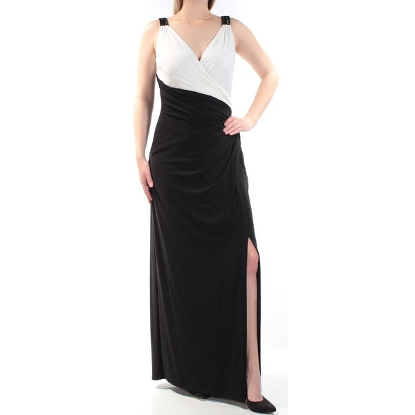 feee77414052a Shop RALPH LAUREN Womens Black Beaded Slitted Color Block Sleeveless V Neck  Full-Length Sheath Evening Dress Size: 12 - Free Shipping On Orders Over  $45 ...