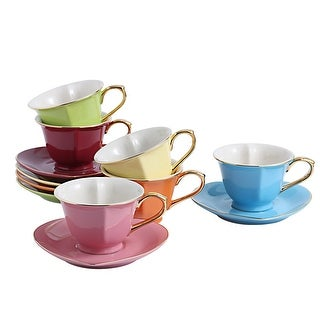 Link to 3.75'' Assorted Colors Porcelain Cups and Saucers Set Service for 6 Similar Items in Serveware