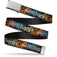 """Blank Chrome 1.0"""" Buckle Scooby Doo Face Paw & Crossbones Gray Black Orange Web Belt 1.0"""" Wide"""