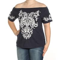 INC Womens Navy Embroidered Short Sleeve Off Shoulder Top  Size: XL