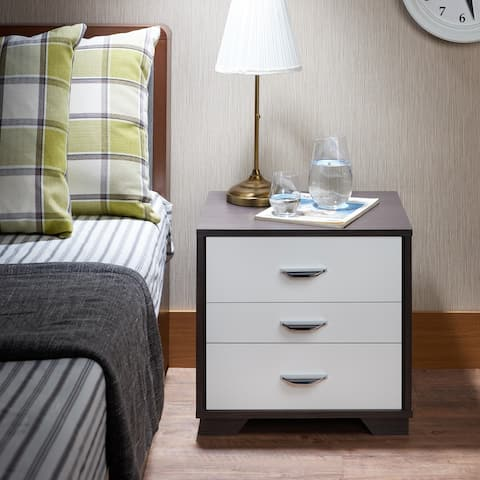 TiramisuBest Modern 3 Drawer Night Table in White & Black