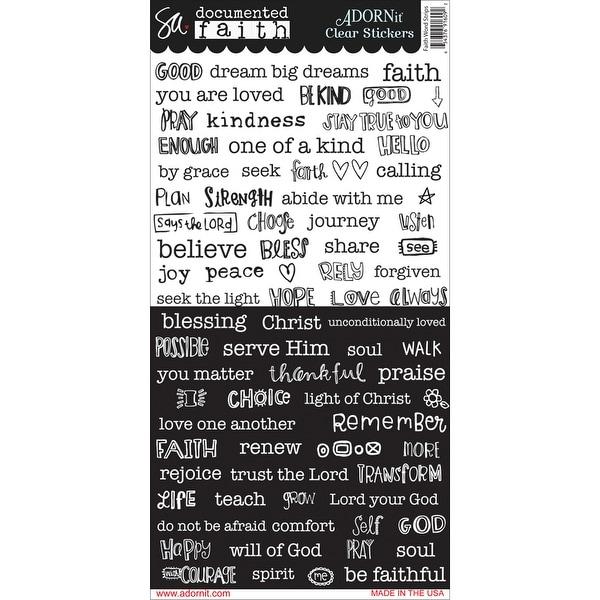 "Documented Faith Clear Stickers 6""X12""-Word Strip"