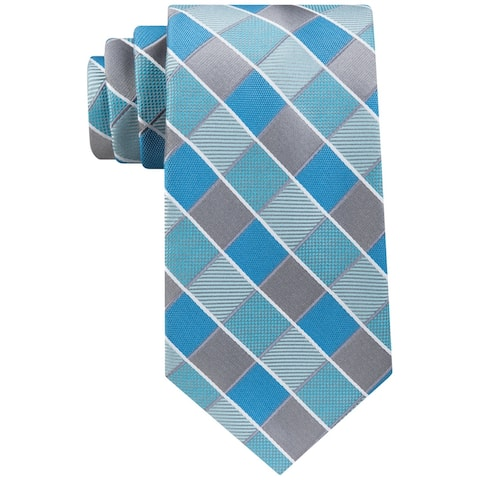 Geoffrey Beene Mens Sunlaid Grid Self-tied Necktie, blue, One Size - One Size