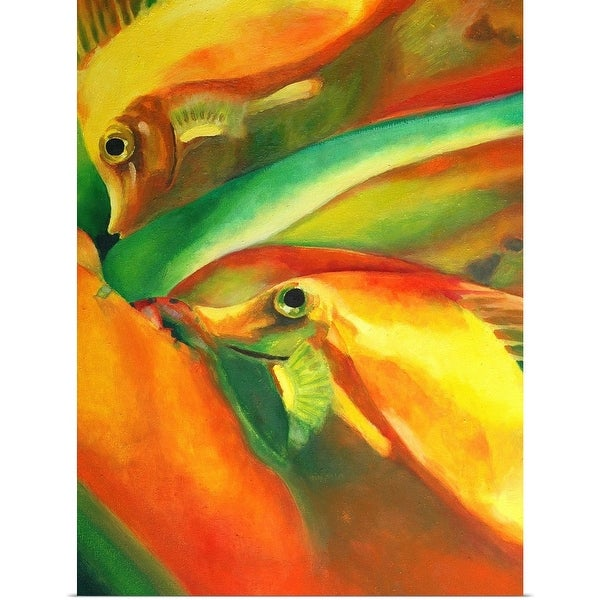 """""""Oil on canvas painting of fishes in red, green, and yellow"""" Poster Print"""