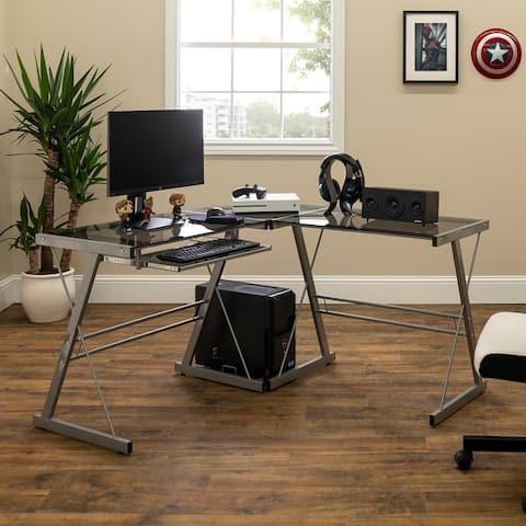 Porch & Den Hardy Silver Metal & Smoke Glass Corner Computer Desk