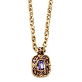 Goldtone Purple Crystal & Enamel Necklace - 18in