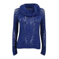 INC International Concepts Women's Cowl-Neck Pointelle Sweater