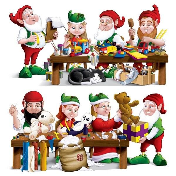 "Club Pack of 24 Santa's Christmas Workshop Props 31.5"" x 63.5"""