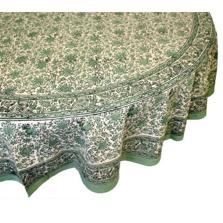 Handmade Daisy Chain Floral Block Print Cotton Tablecloth Green 60x90  Rectangle Round Square   Free Shipping On Orders Over $45   Overstock.com    20100421