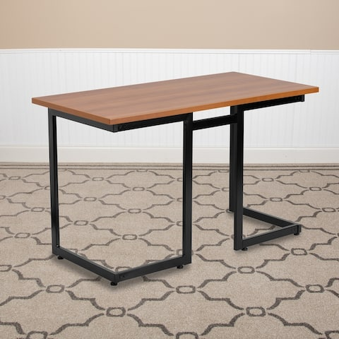 Cherry Computer Desk with Metal Frame - Office Furniture - Writing Desk