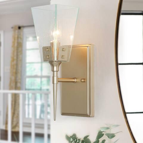 Modern Gold 1-Light Bathroom Vanity Lights Glass Wall Sconces