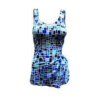 One Piece Front Sarong Swim in Multi-colored Blues Tiled Print