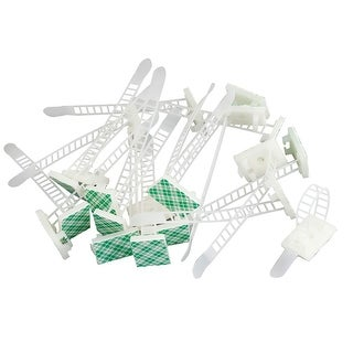 White Plastic Sticky Rectangle Base Free Size Cable Tie Mount Holders 20 Pcs